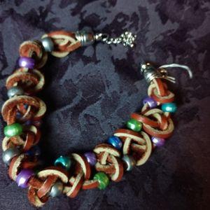 Braided soft leather & pony bead bracelet OOAK